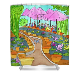 Pink Umbrella And Lilies Shower Curtain