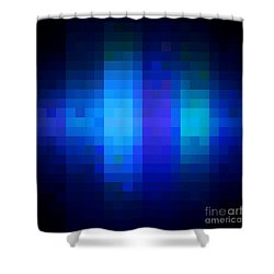 Shower Curtain featuring the digital art Pixelated Moonlit Sky by Rachel Hannah
