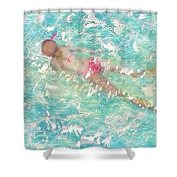 Shower Curtain featuring the painting Playful by Eva Konya
