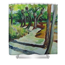 Shower Curtain featuring the painting Plen Aire Palms by Saundra Johnson