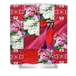 Poinsettia Christmas Quilt Shower Curtain