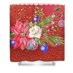 Poinsettia With Blue Ornaments  Shower Curtain