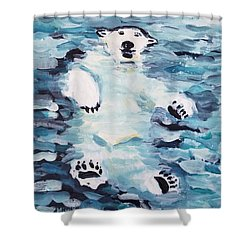 Shower Curtain featuring the painting Polar Bear by Maria Langgle
