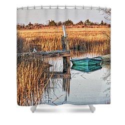Poquoson Marsh Boat Shower Curtain