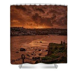 Porthmeor Sunset 2 Shower Curtain