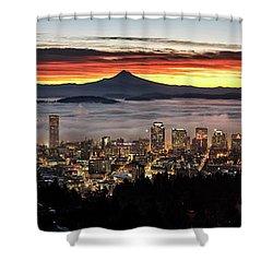 Portland Foggy Sunrise Shower Curtain
