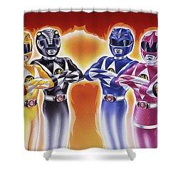 Power Rangers Heroes Art Shower Curtain