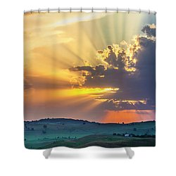 Powerful Sunbeams Shower Curtain