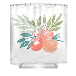 Shower Curtain featuring the mixed media Pretty Coral Roses 2- Art By Linda Woods by Linda Woods