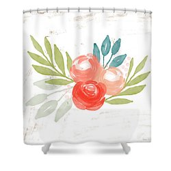 Shower Curtain featuring the mixed media Pretty Coral Roses - Art By Linda Woods by Linda Woods