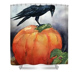 Pumpkin And Crow Shower Curtain