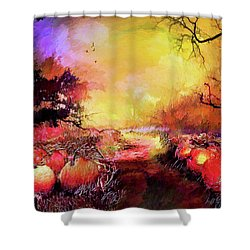 Shower Curtain featuring the painting Pumpkin Patch by Valerie Anne Kelly