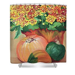 Pumpkin With Flowers Shower Curtain