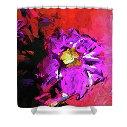 Purple And Yellow Flower And The Red Wall Shower Curtain