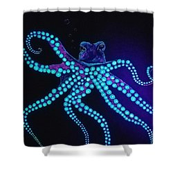 Shower Curtain featuring the painting Purple Octopus  by Jennah Lenae