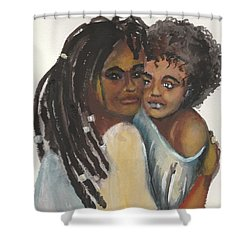 Shower Curtain featuring the painting Queen Love by Saundra Johnson