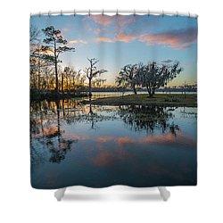 Quiet River Sunset Shower Curtain