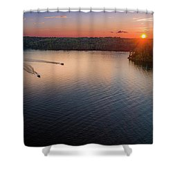 Racing The Sun Shower Curtain