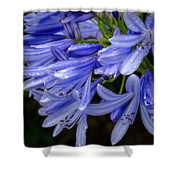 Rain Drops On Blue Flower II Shower Curtain