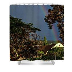 Rainbow Ended At The Church Shower Curtain