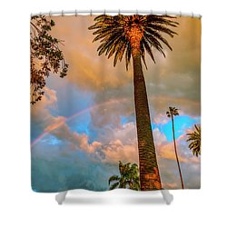 Rainbow Over The Palms Shower Curtain
