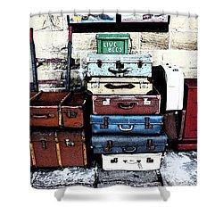 Ramsbottom.  Elr Railway Suitcases On The Platform. Shower Curtain
