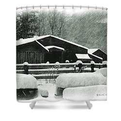 Ranch Buildings And Benches In Snow Shower Curtain