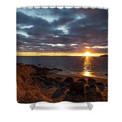Randall Point Sunset At Barn Island - Stonington Ct Shower Curtain