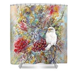 Rare White Sparrow - Portrait View. Shower Curtain