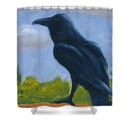Raven On A Rail Shower Curtain