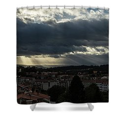 Shower Curtain featuring the photograph Rays Over Santiago by Alex Lapidus