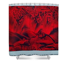 Red And Black Encaustic Abstract Shower Curtain