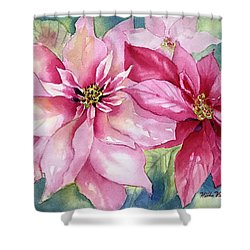 Red And Pink Poinsettias Shower Curtain