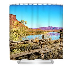 Shower Curtain featuring the photograph Red Cliffs Canyon by David Morefield