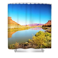 Shower Curtain featuring the photograph Red Cliffs Canyon Panoramic by David Morefield