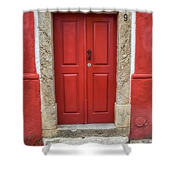Red Door Nine Of Obidos Shower Curtain