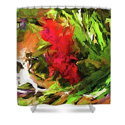 Red Flower On The Branch Shower Curtain