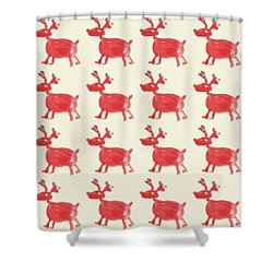 Shower Curtain featuring the painting Red Reindeer Pattern by Maria Langgle