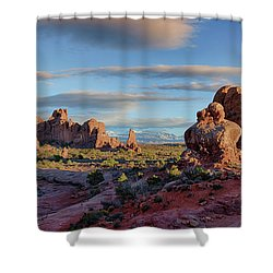 Shower Curtain featuring the photograph Red Rock Formations Arches National Park  by Nathan Bush