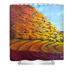 Shower Curtain featuring the painting Red Rocks by Saundra Johnson