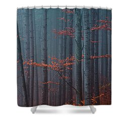 Red Wood Shower Curtain
