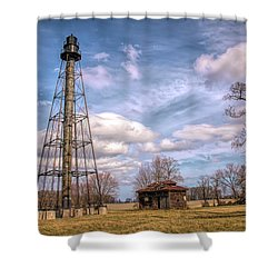 Shower Curtain featuring the photograph Reedy Island Range Rear Light by Kristia Adams