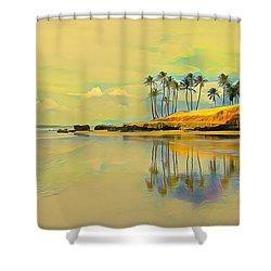 Reflection Of Coastal Palm Trees Shower Curtain