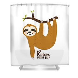Relax Take It Easy - Baby Room Nursery Art Poster Print Shower Curtain