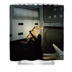 Shower Curtain featuring the photograph Rescue Of The Space Frog by Alex Lapidus