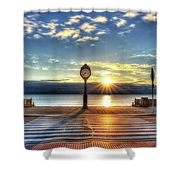 Revere Beach Clock At Sunrise Angled Long Shadow Revere Ma Shower Curtain
