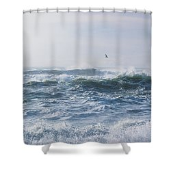 Shower Curtain featuring the photograph Reynisfjara Seagull Over Crashing Waves by Nathan Bush