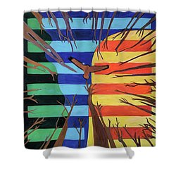 Shower Curtain featuring the painting Riding The Wind by Denise Weaver Ross