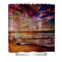 Rising Tide On The Hudson Montage Shower Curtain