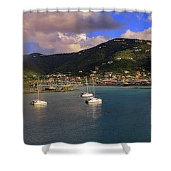 Shower Curtain featuring the photograph Road Town  by Tony Murtagh